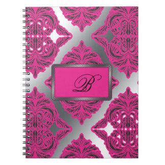 Ornate Damask Pink, Black, Silver Spiral Notebook