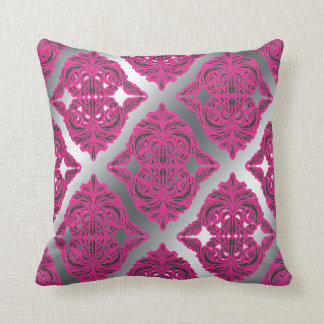 Ornate Damask Pink, Black, Silver Throw Pillow