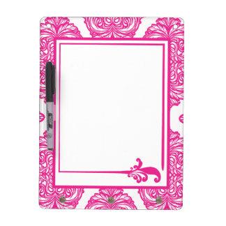 Ornate Damask Pink, White Dry Erase Whiteboard