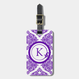Ornate Damask Purple and White Bag Tag