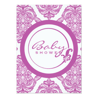 Ornate Damask Radiant Orchid and White Baby Shower Card