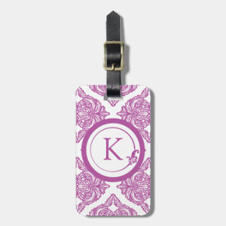 Ornate Damask Radiant Orchid and White Luggage Tag