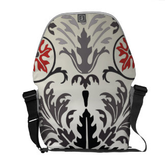 ornate damask red and gray courier bag