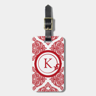 Ornate Damask Red and White Luggage Tag