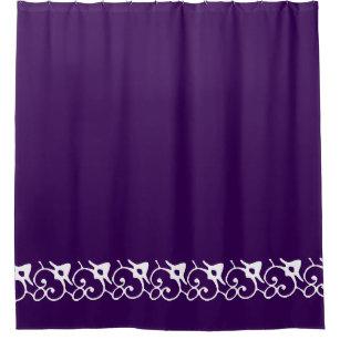 Ornate Decor Solid Deep Royal Purple Bathroom Home Shower Curtain