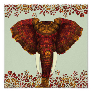 Ornate Decorated African Elephant Design Poster