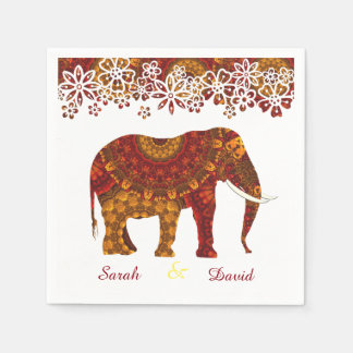 Ornate Decorated Indian Elephant Design Napkin