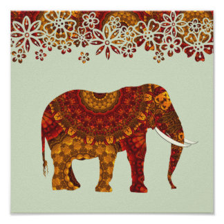 Ornate Decorated Indian Elephant Design Poster