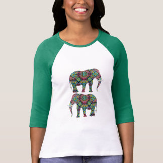 Ornate Decorated Indian Elephants Design T-Shirt