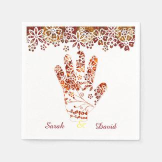 Ornate Decorated Mehndi Henna Hand Design Napkin