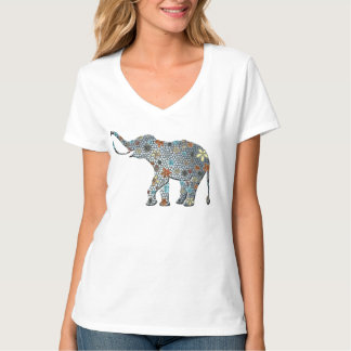 Ornate Design Flower Elephant T shirt
