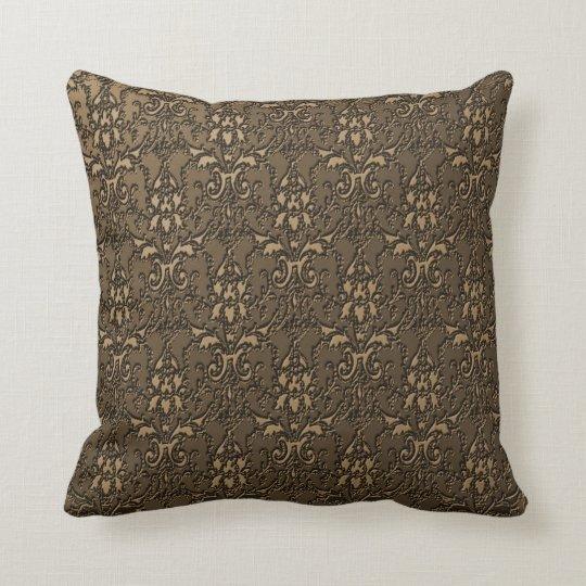Ornate Elegant Formal Brown Damask Pillow