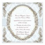 ornate elegant frame on damask wedding personalized invitations