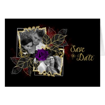 Halloween Themed Ornate Elegant Photo Save the Date Purple Rose Card
