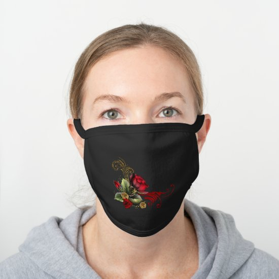 Ornate Elegant Red Roses with Gold Elements Black Cotton Face Mask