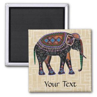 Ornate Elephant 2 Inch Square Magnet