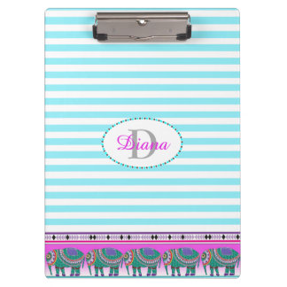Ornate Elephant Turquoise Stripped Personalized Clipboard