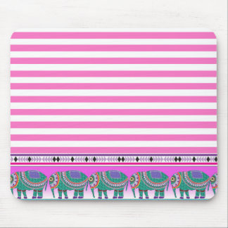Ornate Elephants Pink Stripped Trendy Mouse Pad