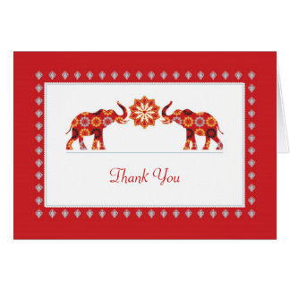 Ornate Elephants Thank You Card