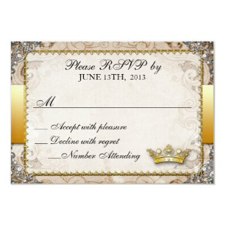 Ornate Fairytale Storybook Wedding RSVP 3.5x5 Paper Invitation Card