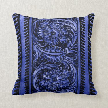 Ornate Faux Tooled Leather Floral | cobalt blue Throw Pillow
