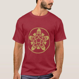 Ornate Filigree Yule Star With Hearts T-Shirt