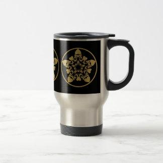 Ornate Filigree Yule Star With Hearts Travel Mug