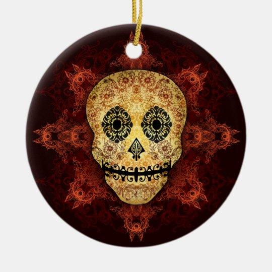 Ornate Flame Sugar Skull Ceramic Ornament
