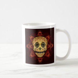 Ornate Flame Sugar Skull Classic White Coffee Mug