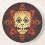 Ornate Flame Sugar Skull Drink Coaster