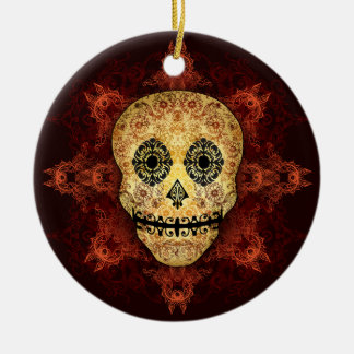 Ornate Flame Sugar Skull Christmas Ornaments