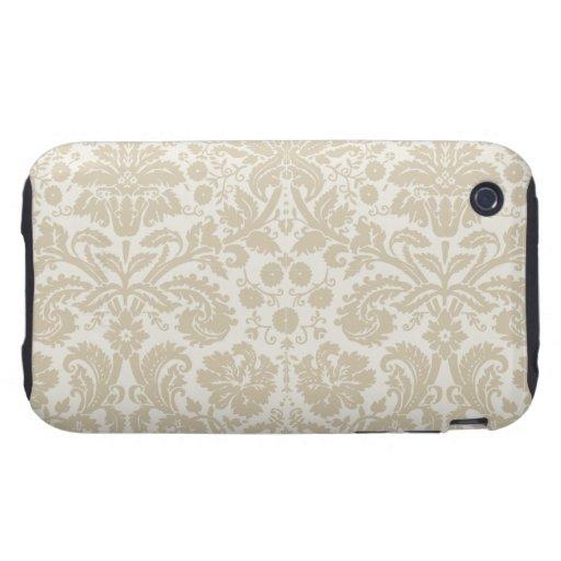 Ornate floral art nouveau pattern beige tough iPhone 3 cases