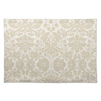 Ornate floral art nouveau pattern beige cloth placemat