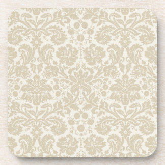 Ornate floral art nouveau pattern beige coasters