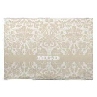 Ornate floral art nouveau pattern beige monogram cloth placemat