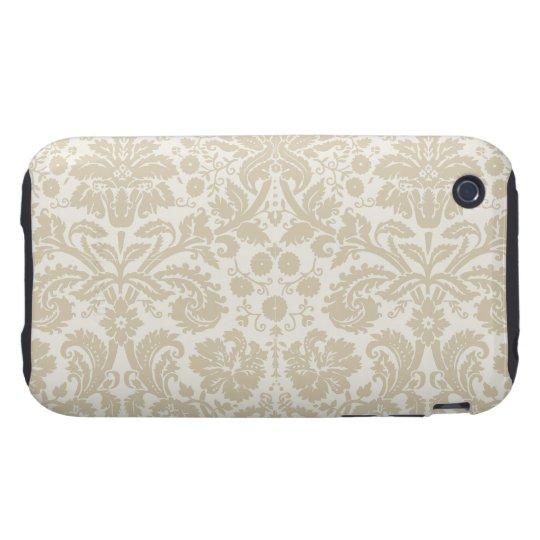Ornate floral art nouveau pattern beige tough iPhone 3 case