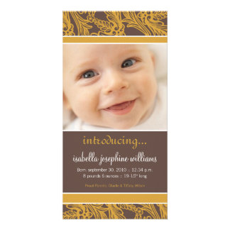 Ornate Floral (Brown/Gold) Birth Announcement