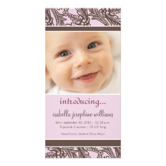 Ornate Floral (Brown/Lilac) Birth Announcement