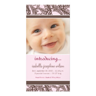 Ornate Floral (Brown/Pink) Birth Announcement Photo Card