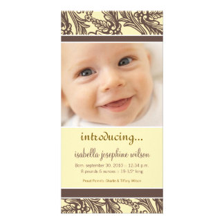 Ornate Floral (Brown/Yellow) Birth Announcement