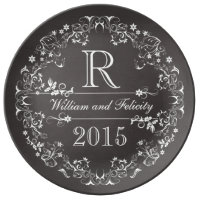 Ornate Floral Chalkboard Monogram Anniversary Year Porcelain Plate