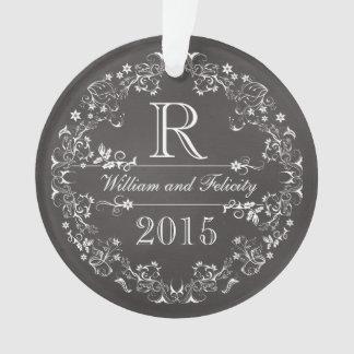 Ornate Floral Chalkboard Monogram Wedding Year