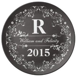Ornate Floral Chalkboard Monogram Wedding Year Porcelain Plates