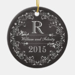 Ornate Floral Chalkboard Monogram Wedding Year Ornament