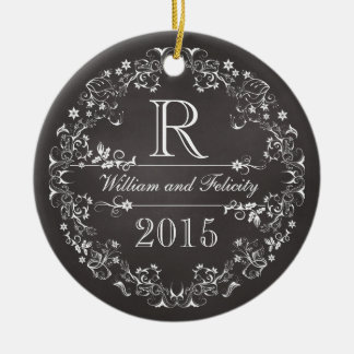 Ornate Floral Chalkboard Monogram Wedding Year Ornament