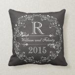 Ornate Floral Chalkboard Monogram Wedding Year Pillow
