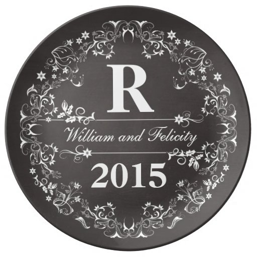 Ornate Floral Chalkboard Monogram Wedding Year Plate Zazzle