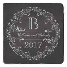 Ornate Floral Chalkboard Monogram Wedding Year Trivet