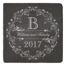 Ornate Floral Chalkboard Monogram Wedding Year­ Trivet