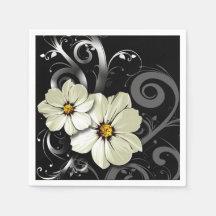 Ornate Floral Flourish | black Paper Napkins